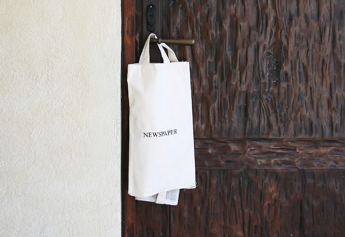 Newspaper-bag-at-a-hotel-room-door